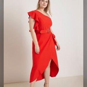 ELOQUII Red One Shoulder Belted Dress